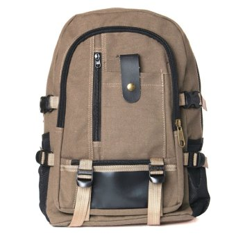 male fashionable casual canvas backpack middle school students school bag travel bag large capacity backpack man bag Brown - intl