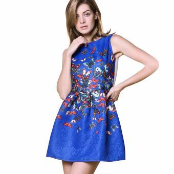 Women Ball Gown Dress A-Line Butterfly Print (Blue) - intl
