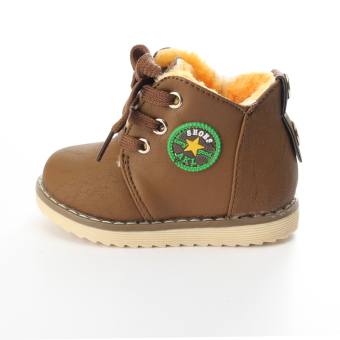 Childrens snow Shoes Warm Leather Boys and Girls Kids Plush Hand Stitching Cotton Winter ankle Boots - Intl