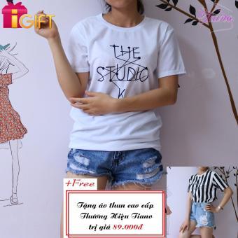 Áo Thun Nữ Tay Ngắn In Hình The Studio K.. Năng Động Tiano Fashion LV156 ( Màu Trắng ) + Tặng Áo Thun Nữ Tay Ngắn In Hình Arments Asanst Cực Cool Tiano