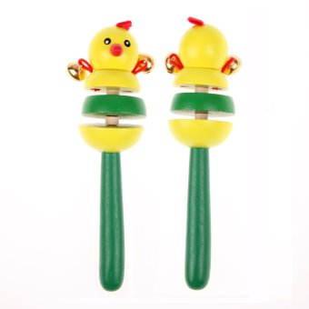 Colorful Wooden Cartoon Rattles Kids Party Child Baby Beach Shaker Toy - intl