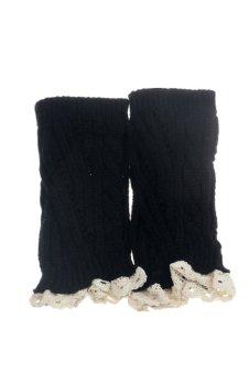 Knitted Lace Leg Warmer Socks (Black)