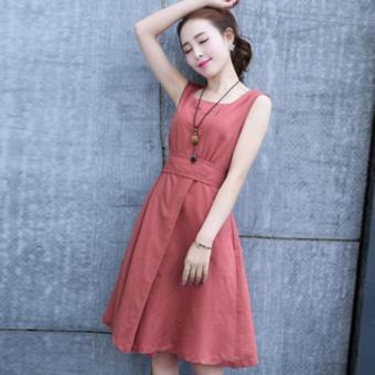 Đầm xòe không tay cổ tròn cột nơ eo nữ tính Urban Horizon FM0064 (Cam)