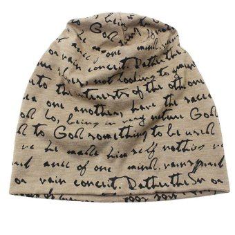 Unisex Thin Hat Winter Knitted Letter Printing Hip-hop Cap (Light Coffee) - intl