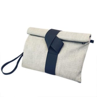 Women Cloth Pattern Clutches Bag Messenger Party Handbags Shoulder Bags Grey - intl