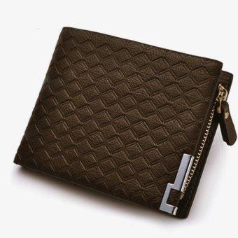PU Leather Zipper Wallet Money Clip Card Holder Pocket Money Purse Light Brown - Intl