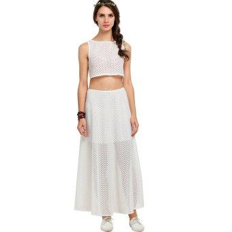 Cyber Fashion Women Lace Dress Set Crop TopAndMaxi Long Dress White (White) - Intl