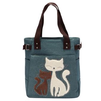 Women handbag canvas bag with cute cat fashion ladiesl bags(light green) (Intl)