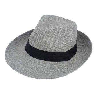 Unisex Fedora Trilby Large Brim Beach Straw Hats Grey (turn up) - Intl
