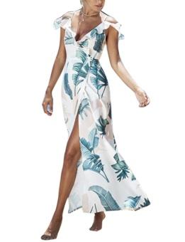 Cyber Women Casual Strap Ruffle Short Sleeve Floral Beach Bohemian Style Dress ( White ) - intl