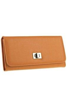 HKS New Women Fashion PU Leather Wallet Cross Clutch Purse Lady Multi color Long Handbag Bag Orange - intl