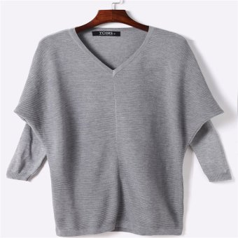 Hoodies Sweats New winter casual blouse sweater shirt high quality Midi length sweater (Grey) - intl