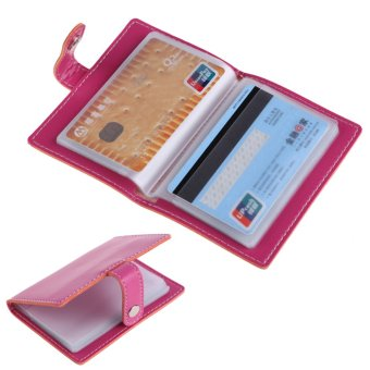 Rosy PU Leather Business Case Wallet Credit Card Holder Purse for 20 Cards - intl
