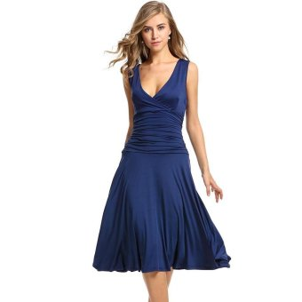 Linemart Meaneor Women Ladies Sleeveless Stretch V-Neck Sundress Draped Calf Length Party Slim Pleated Dress ( Blue ) - intl