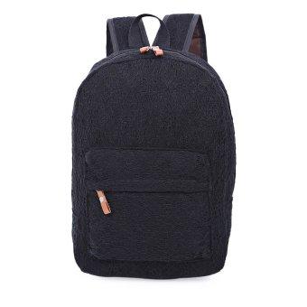 Women Sweet Polyester Lace Geometric Backpack Bag (Black) - intl