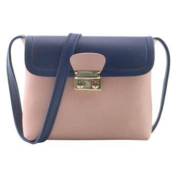 Women Fashion Fight Color Handbag Shoulder Bag Small Tote Ladies Purse Pink - intl
