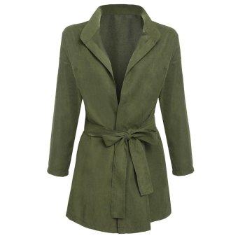Sunweb New Fashion Women Batwing Sleeve Front Open Outwear Jacket Tunic Solid Casual Windbreak ( Army Green ) - intl