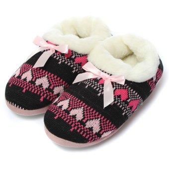 Women Comfort Warm Soft Indoor Outdoor Home Slippers Shoes Puppy Snowflake Heart Black - intl