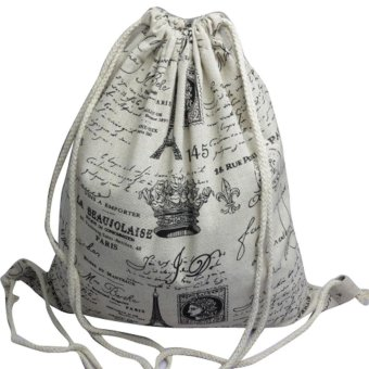 Unisex Backpacks Retro Printing Bags Drawstring Backpack - intl