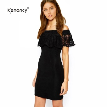Kenancy Sexy Off Shoulder Lace Sheat Dress Female Short Club Pencil Dress - intl