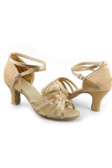 Cyber Women's Brillante Ballroom Dance Shoes Latin Pumps Khaki - intl