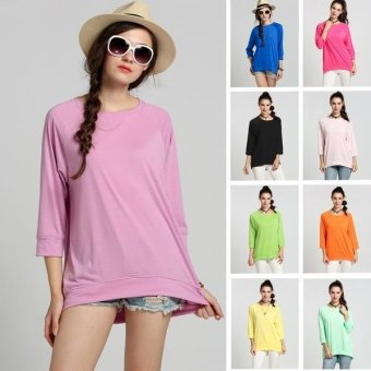Sunweb Stylish Ladies Women Casual O-neck Batwing Sleeve Loose T-shirt ( blue ) - intl