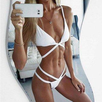 Sunweb Fashion Women Ladies Bikini Sets V-neck Cross Bandage Pack of 2 Swimsuit Beach Swimming Swimwear ( White ) - intl
