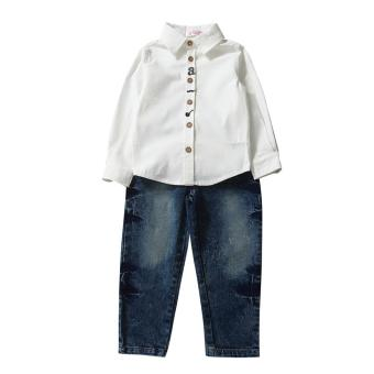 Kids Children Boys Long Sleeve Cotton Shirt Tops Jeans Pants Clothes Outfit - intl