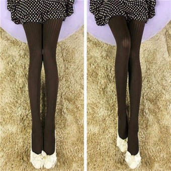 Womens Lady Winter Warm Tights Slim Stretch Footed Pantyhose Stockings Hosiery Coffee - intl