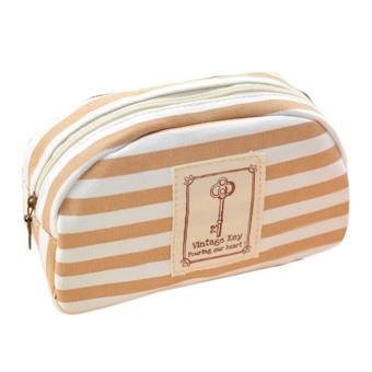 Practical Canvas Pencil Pen Cosmetic Makeup Storage Bag Pouch Case Purse Khaki