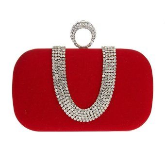 niceEshop Womens Velvet Rhinestone Evening Cocktail Clutch Bags With One Ring Red - intl