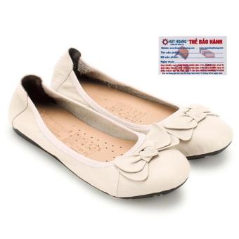 HL7914 - Giày nữ búp bê Huy Hoàng da bò màu kem đính nơ