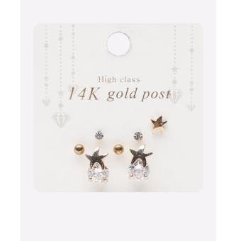 Bông tai mạ bạc/ mạ vàng 14K đính pha lê swarovksi Hàn Quốc nhập khẩu màu vàng/bạc
