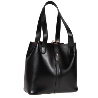 Women's new fashion Satchel Handbag Genuine Leather shoulder bag(black)