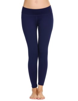 Cyber Women Casual Solid Slim Yoga Pants Legging for Running Sport Fitness ( Dark Blue ) - intl