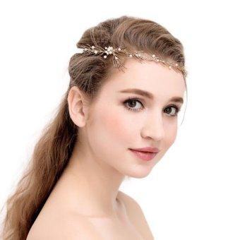 New Bride Headdress Sweet Branch Handmade Gold Branch Wedding Hair Accessories Bride Hair Ornament - intl