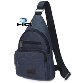 Túi Đeo Ngực Canvas Phối Da Phong Cách HQ 80TU71-3(xanh)