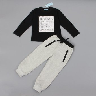 1Set Kids Toddler Boys Handsome Black Blouse + Gray Casual Pants - intl