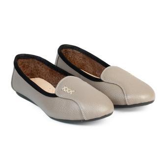 Giày Búp Bê Da Mũi Bầu trơn HC1369 (Xám)