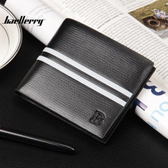 Men Wallet PU Leather Short Purse Credit Card Holder Purses Money Bag, Black - intl