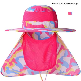Lan-store Professional Outdoor Summer Sun Hats Wide Brim Breathable Cap for Beach Fishing Hiking Camping Anti-UV Anti Mosquito Hats (Rose Red) - intl