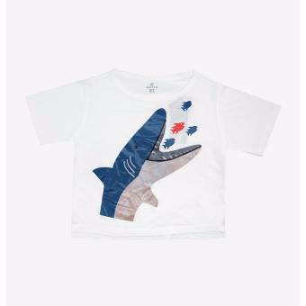 Áo thun trẻ em AntiX màu trắng in hình cá mập