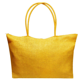 Simple Candy Color Large Straw Beach Bags Women Casual Shoulder Bag Yellow - Intl