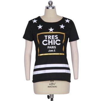 Gamiss Woman Stars Printing Sport T-Shirt (Black)--TC - intl