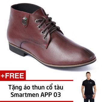 Giày Da Nam Công Sở Smartmen Gd-111 (Nâu) + Tặng Áo Thun Nam App03