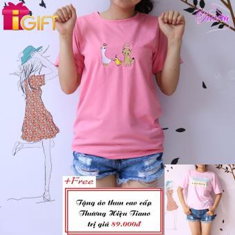 Áo Thun Nữ Tay Ngắn In Hình Con Mèo Và Con Vịt Dễ Thương Tiano Fashion LV080 ( Màu Hồng ) + Tặng Áo Thun Nữ Tay Ngắn In Hình Black White Năng Động Tiano Fashion (màu hồng)
