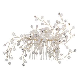 Fashion Women Alloy Rhinestone Bridal Hair Comb Wedding Dress Headwear (Intl)