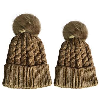 2 PCS Unisex Parents Adults Kids Knitted Woolen Yarn Knitting Winter Autumn Warm Outdoor Ski Cap Hat Khaki - intl