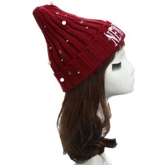 New Unisex Women Men Beanie Hat Letter Embroidery Pearl Star Solid Warm Hip-Hop Cool Knitted Cap Headwear - Intl