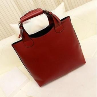 Fashion Woman Handbag PU Leather Purse Laconic Totes Red - intl